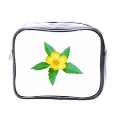 Yellow Flower With Leaves Photo Mini Toiletries Bags by dflcprints