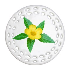 Yellow Flower With Leaves Photo Round Filigree Ornament (two Sides) by dflcprints