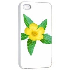 Yellow Flower With Leaves Photo Apple Iphone 4/4s Seamless Case (white) by dflcprints