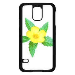 Yellow Flower With Leaves Photo Samsung Galaxy S5 Case (black) by dflcprints