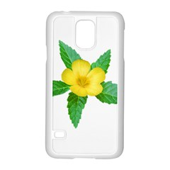 Yellow Flower With Leaves Photo Samsung Galaxy S5 Case (white) by dflcprints