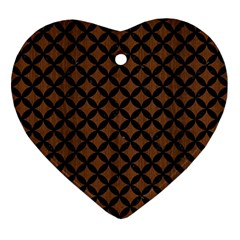 Circles3 Black Marble & Brown Wood (r) Ornament (heart) by trendistuff