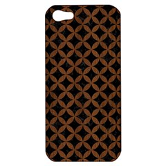 Circles3 Black Marble & Brown Wood Apple Iphone 5 Hardshell Case by trendistuff