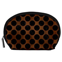 Circles2 Black Marble & Brown Wood (r) Accessory Pouch (large) by trendistuff