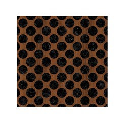 Circles2 Black Marble & Brown Wood (r) Small Satin Scarf (square) by trendistuff