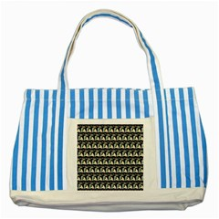 Colorful Pop Art Monkey Pattern Striped Blue Tote Bag by paulaoliveiradesign