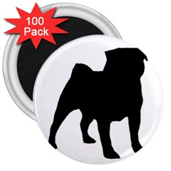 Pug Silo Black 3  Magnets (100 Pack) by TailWags