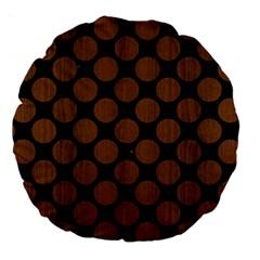 Circles2 Black Marble & Brown Wood Large 18  Premium Round Cushion  by trendistuff