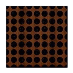 Circles1 Black Marble & Brown Wood (r) Tile Coaster by trendistuff