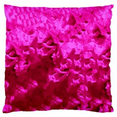 Hot Pink Floral Pattern Large Cushion Case (two Sides) by paulaoliveiradesign