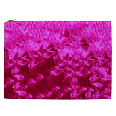 Hot Pink Floral Pattern Cosmetic Bag (xxl)  by paulaoliveiradesign