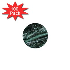 Green Marble Stone Texture Emerald  1  Mini Buttons (100 Pack)  by paulaoliveiradesign