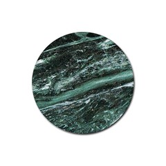 Green Marble Stone Texture Emerald  Rubber Round Coaster (4 Pack)  by paulaoliveiradesign