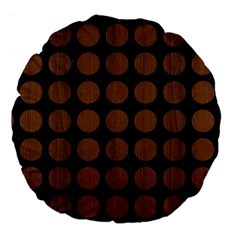 Circles1 Black Marble & Brown Wood Large 18  Premium Round Cushion  by trendistuff