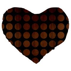 Circles1 Black Marble & Brown Wood Large 19  Premium Heart Shape Cushion by trendistuff