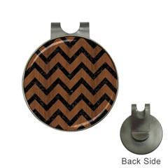 Chevron9 Black Marble & Brown Wood (r) Golf Ball Marker Hat Clip by trendistuff