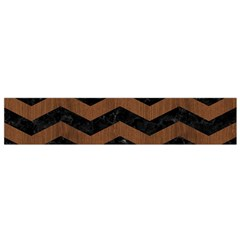 Chevron3 Black Marble & Brown Wood Flano Scarf (small) by trendistuff