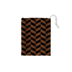 Chevron1 Black Marble & Brown Wood Drawstring Pouch (xs) by trendistuff
