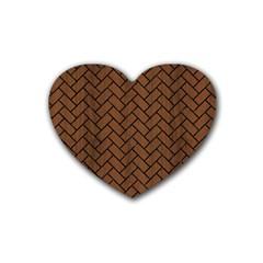 Brick2 Black Marble & Brown Wood (r) Rubber Heart Coaster (4 Pack) by trendistuff