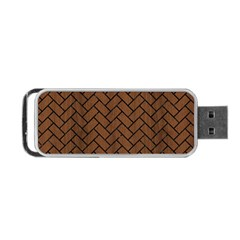 Brick2 Black Marble & Brown Wood (r) Portable Usb Flash (two Sides) by trendistuff