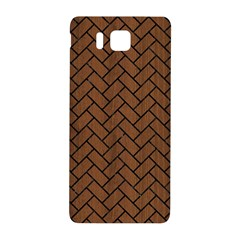 Brick2 Black Marble & Brown Wood (r) Samsung Galaxy Alpha Hardshell Back Case by trendistuff