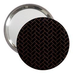 Brick2 Black Marble & Brown Wood 3  Handbag Mirror by trendistuff