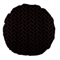 Brick2 Black Marble & Brown Wood Large 18  Premium Flano Round Cushion  by trendistuff