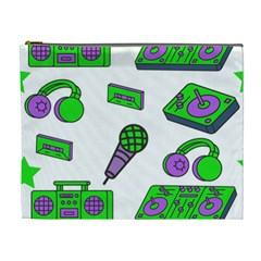 Green Music Pattern Cosmetic Bag (xl) by TheLimeGreenFlamingo