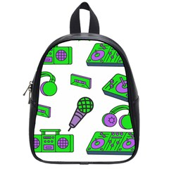 Green Music Pattern School Bags (small)  by TheLimeGreenFlamingo