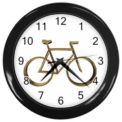 Elegant Gold Look Bicycle Cycling  Wall Clocks (black) by yoursparklingshop