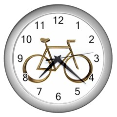 Elegant Gold Look Bicycle Cycling  Wall Clocks (silver)  by yoursparklingshop