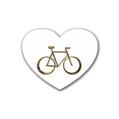 Elegant Gold Look Bicycle Cycling  Heart Coaster (4 Pack)  by yoursparklingshop