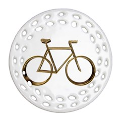 Elegant Gold Look Bicycle Cycling  Round Filigree Ornament (two Sides) by yoursparklingshop