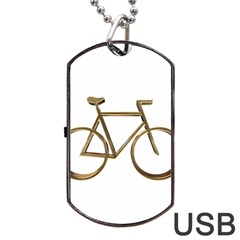 Elegant Gold Look Bicycle Cycling  Dog Tag Usb Flash (one Side) by yoursparklingshop