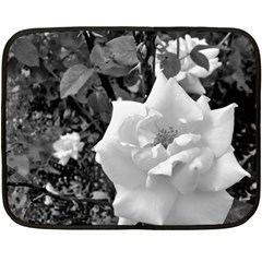 White Rose Black Back Ground Greenery ! Fleece Blanket (mini) by CreatedByMeVictoriaB