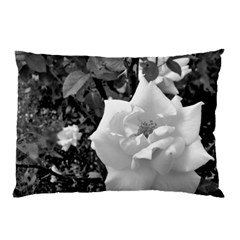 White Rose Black Back Ground Greenery ! Pillow Case (two Sides) by CreatedByMeVictoriaB