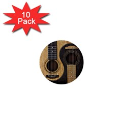 Old And Worn Acoustic Guitars Yin Yang 1  Mini Buttons (10 Pack)  by JeffBartels