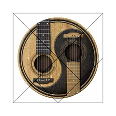 Old And Worn Acoustic Guitars Yin Yang Acrylic Tangram Puzzle (6  X 6 ) by JeffBartels