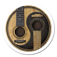 Old And Worn Acoustic Guitars Yin Yang Magnet 5  (round) by JeffBartels