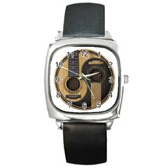 Old And Worn Acoustic Guitars Yin Yang Square Metal Watch by JeffBartels