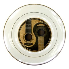 Old And Worn Acoustic Guitars Yin Yang Porcelain Plates by JeffBartels