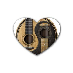Old And Worn Acoustic Guitars Yin Yang Rubber Coaster (heart)  by JeffBartels