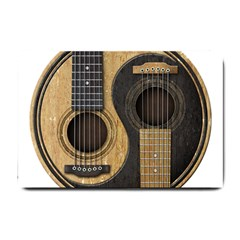 Old And Worn Acoustic Guitars Yin Yang Small Doormat  by JeffBartels