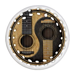 Old And Worn Acoustic Guitars Yin Yang Round Filigree Ornament (two Sides) by JeffBartels
