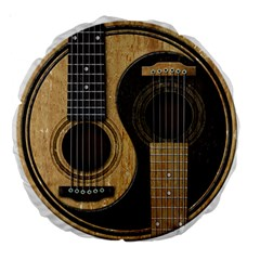 Old And Worn Acoustic Guitars Yin Yang Large 18  Premium Round Cushions by JeffBartels