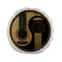 Old And Worn Acoustic Guitars Yin Yang Standard 15  Premium Flano Round Cushions by JeffBartels