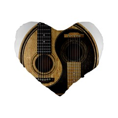 Old And Worn Acoustic Guitars Yin Yang Standard 16  Premium Flano Heart Shape Cushions by JeffBartels
