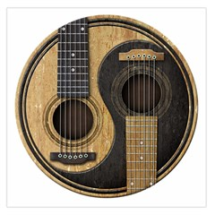 Old And Worn Acoustic Guitars Yin Yang Large Satin Scarf (square) by JeffBartels