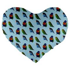 Blue Birds Parrot Pattern Large 19  Premium Flano Heart Shape Cushions by paulaoliveiradesign