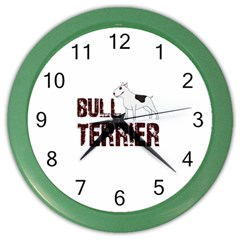 Bull Terrier  Color Wall Clocks by Valentinaart